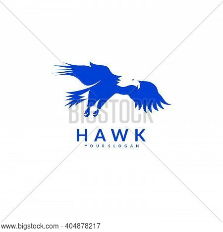 Silhouette Eagle Hawk Falcon . Logo Bird Eagle Falcon Hawk. Vector Illustration