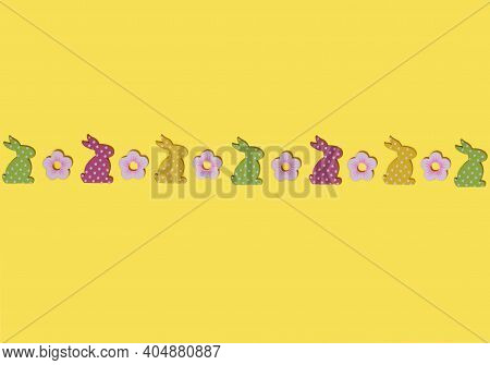 Happy Easter Greeting Card Mockup On Yellow Background. Flat Lay Composition With Decorative Easter