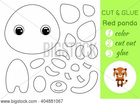 Coloring Book Cut And Glue Baby Red Panda. Educational Paper Game For Preschool Children. Cut And Pa