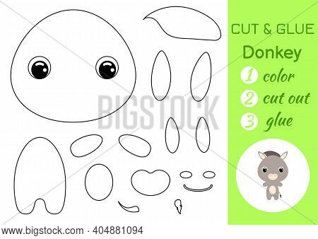 Coloring Book Cut And Glue Baby Donkey. Educational Paper Game For Preschool Children. Cut And Paste
