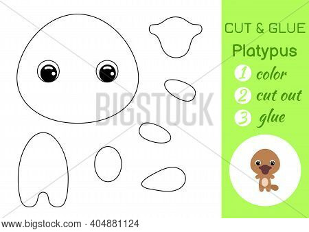 Coloring Book Cut And Glue Baby Platypus. Educational Paper Game For Preschool Children. Cut And Pas