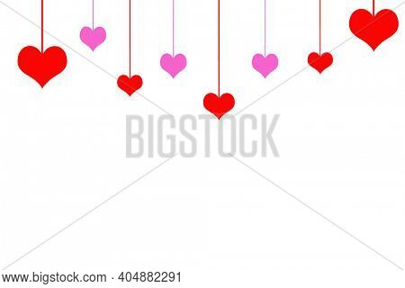 Valentine's Day. Heart Design Picture Frame. Menu or Picture Frame with Pink and Red Hearts. Room for Text or Images. White Background with Pink and Red Hearts.