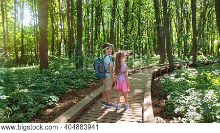 Children Look At The Landmark In The National Park On The Hiking Trail. Kids Are Hiking Along A Well