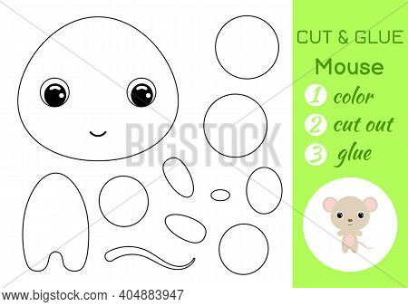 Coloring Book Cut And Glue Baby Mouse. Educational Paper Game For Preschool Children. Cut And Paste