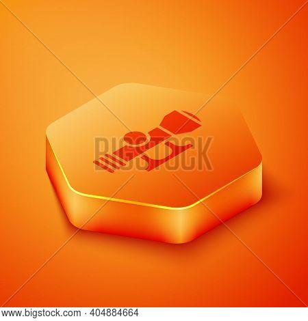Isometric Sniper Optical Sight Icon Isolated On Orange Background. Sniper Scope Crosshairs. Orange H