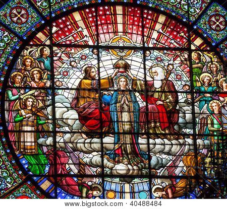 Stained Glass Jesus Mary Rose Window Monastery Montserrat Catalonia