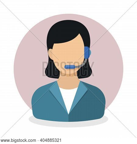 Telephone Operator Or Call Center Employee Icon. Woman With Headset Answering Customers Phone Call.