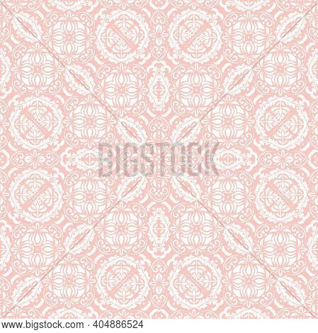 Orient Classic Pattern. Seamless Abstract Background With Vintage Elements. Orient Pink And White Ba