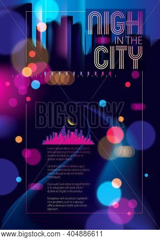 Light Night At City, Bokeh Abstract Background Blurred Lights. Effect Vector Beautiful Background. B