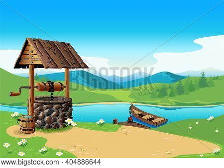Old Village Well In Summer Landscape With Mountains, River And Boat. Stone Well With Wooden Roof. Fa