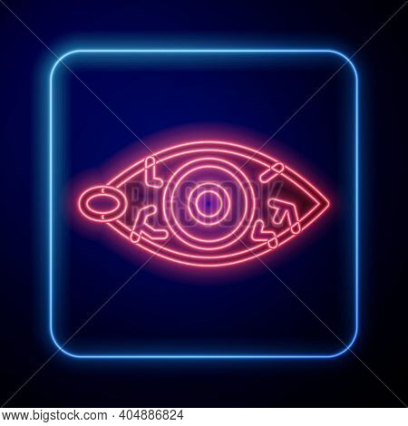 Glowing Neon Reddish Eye Due To Viral, Bacterial Or Allergic Conjunctivitis Icon Isolated On Blue Ba