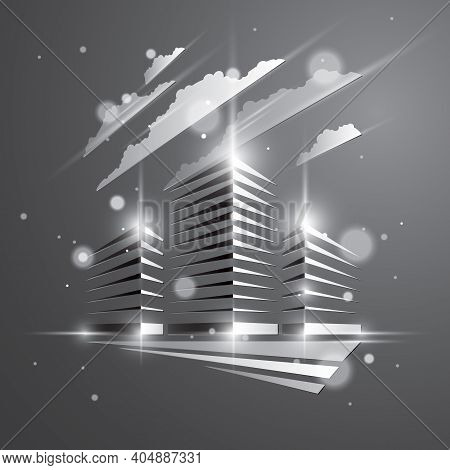 Futuristic Building, Modern Style Vector Architecture Illustration With Blurred Lights And Glares Ef