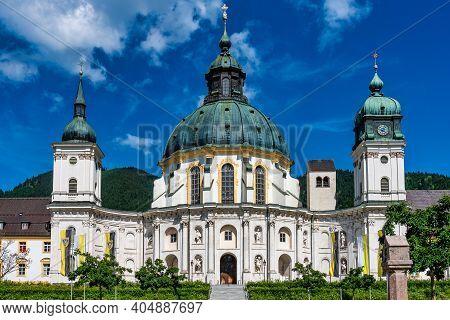 Ettal, Germany - Jul 01, 2020: Main Facade Of Ettal Abbey, Kloster Ettal Near Oberammergau, A Benedi