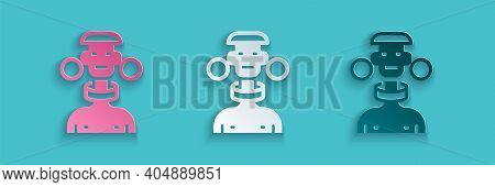 Paper Cut African Tribe Male Icon Isolated On Blue Background. Paper Art Style. Vector