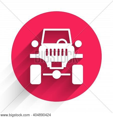 White Off Road Car Icon Isolated With Long Shadow. Jeep Sign. Red Circle Button. Vector