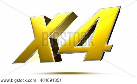 X4 Isolated On White Background Illustration 3d Rendering With Clipping Path.