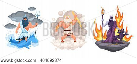 Three Main Greek Gods. Cartoon Zeus, Poseidon And Hades Elements Surrounded, Waves, Clouds And Fire