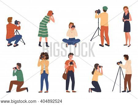 Professional Photographers. Cartoon People With Cameras Different Poses, Male And Female Characters