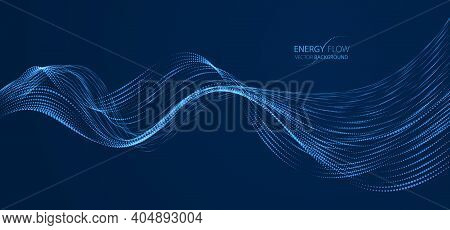 Array Of Particles Flowing Over Dark Background, Dynamic Sound Wave. 3d Vector Illustration. Mesh Sh