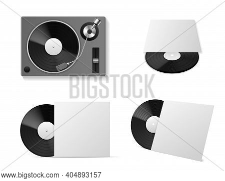 Vinyl Record Player Mockup. Realistic Vinyl Turntablism, Isolated Black Plate Disc In Different Angl
