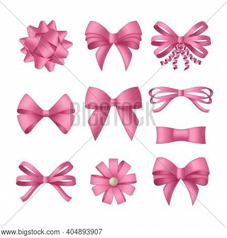 Decorative Pink Bow With Ribbons. Gift Box Wrapping And Holiday Decoration. Vector Illustration
