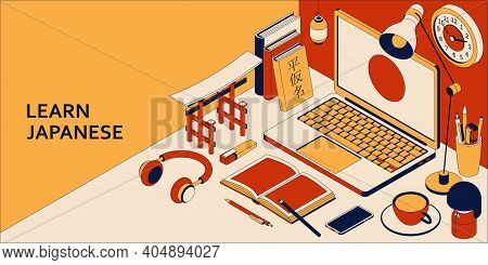 Learn Japanese Language Isometric Concept With Open Laptop, Books, Headphones And Tea. Translation J