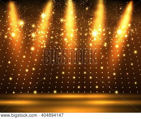 Stage Podium With Lighting, Stage Podium Scene With For Award Ceremony On Golden Background