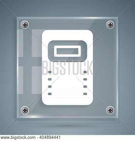 White Police Assault Shield Icon Isolated On Grey Background. Square Glass Panels. Vector