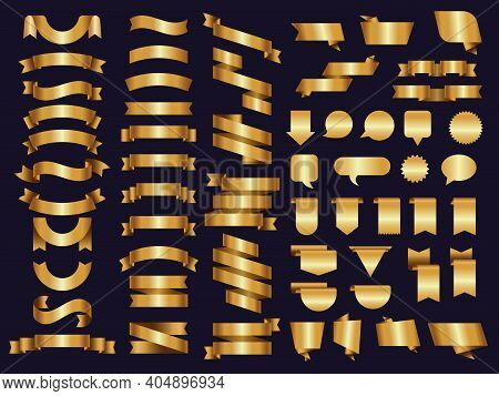 Golden Ribbons. Decoration Symbols Tapes And Luxury Banners Recent Vector Templates Collection. Illu