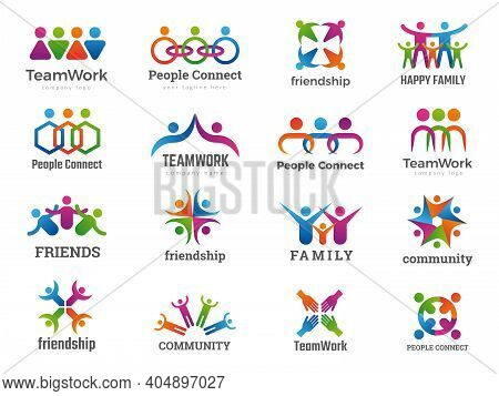 Partners Logo. Connecting People Teamwork Friendship Successful Family Union Recent Vector Business