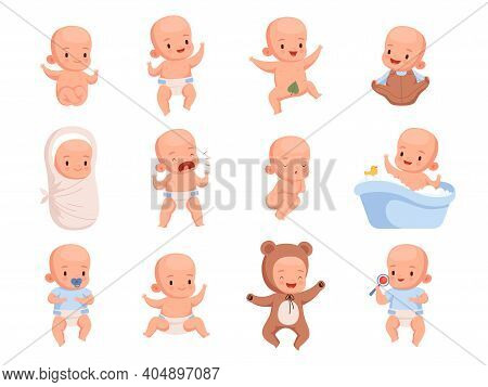 New Born Babies. Sleeping Infant Childrens Smile Cute Little Characters Nowaday Vector Illustrations