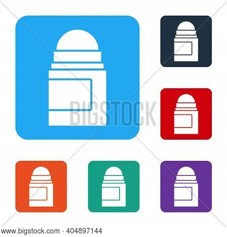 White Antiperspirant Deodorant Roll Icon Isolated On White Background. Cosmetic For Body Hygiene. Se