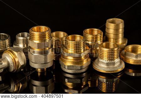Set Of Brass Fittings Is Often Used To Connect For Gas And Water Installations. Fitting Connecting P