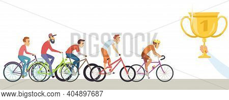 Diverse Man Competition. Men Ride Bicycles, Hand Hold Trophy. Winners, Male Racers Vector Characters