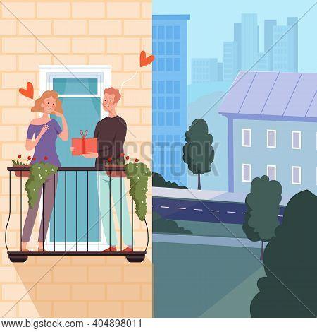 Romantic Couple On Balcony. Man Hold Gift, Happy Girl In Love. Funny Cartoon Vector Illustration. Il