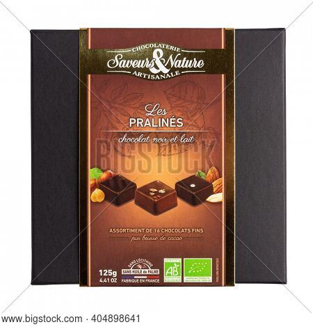 BAYONNE, FRANCE - CIRCA DECEMBER 2020: Saveurs et Nature box of praline organic chocolates isolated on white. Does not contain soy lecithin and palm oil.