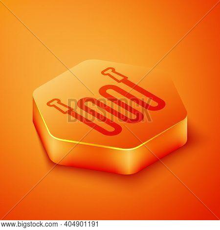 Isometric Garden Hose Icon Isolated On Orange Background. Spray Gun Icon. Watering Equipment. Orange