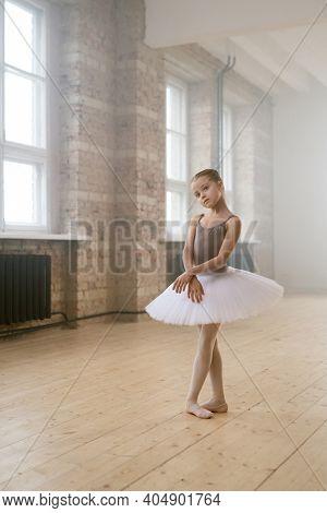 Little ballerina practicing ballet in dance school she preparing for the performance