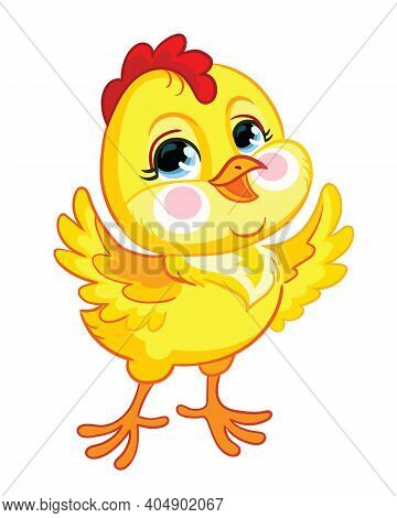 Funny Cartoon Smiling Chicken. Cute Animal. Vector Illustration For Postcard, Posters, Nursery Desig