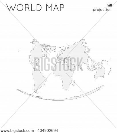 World Map. Globe In Hill Projection, Plain Style. Modern Vector Illustration.