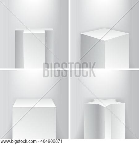 Empty Geometrical Product Showroom Base Podium Platform Stage Pillars Vector Illustration