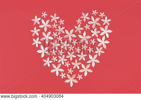Heart Shaped Confetti Red Monochrome Background