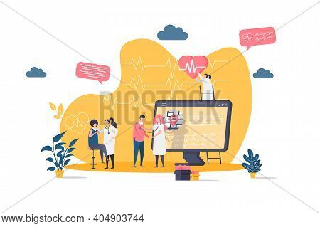 Medicine Concept In Flat Style. Doctor Examining Patient In Clinic Scene. Modern Diagnostics And Tre