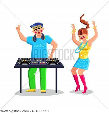 Disk Jockey Playing Music On Dj Equipment Vector