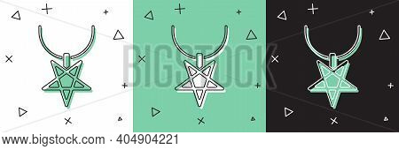 Set Pentagram On Necklace Icon Isolated On White And Green, Black Background. Magic Occult Star Symb