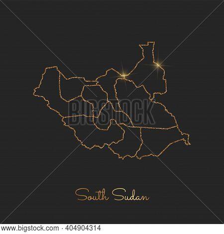 South Sudan Region Map: Golden Glitter Outline With Sparkling Stars On Dark Background. Vector Illus