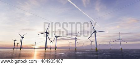 Offshore wind power and energy farm with many wind turbines on the ocean. Sustainable electricity production. 3D illustration