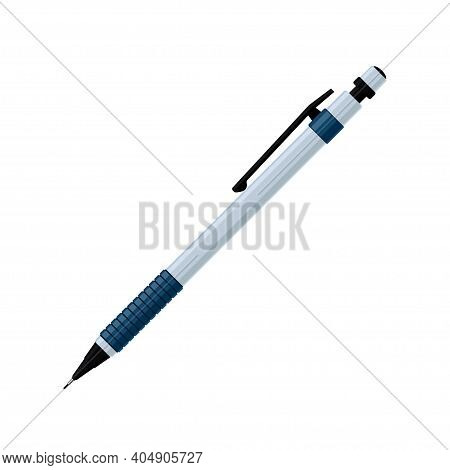 Mechanical Pencil In Light Gray Case With Rubber Grip And Cap. Flat Vector Illustration Isolated On