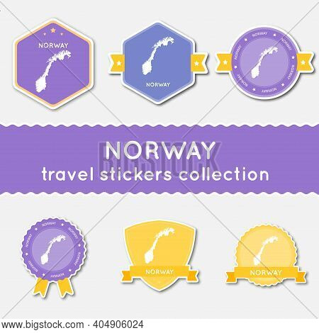 Norway Travel Stickers Collection. Big Set Of Stickers With Country Map And Name. Flat Material Styl