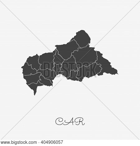 Car Region Map: Grey Outline On White Background. Vector Illustration.